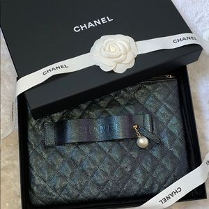 New Chanel iridescent caviar Night by the C clutch